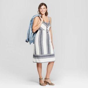 Universal Thread Striped V-Neck Button Front Dress